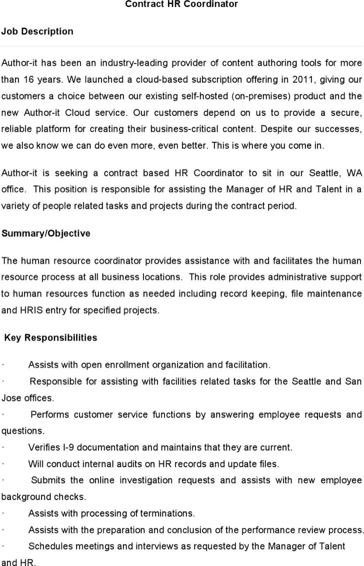 sample-contract-hr-coordinator Sample Hr Newsletter Template on section company, adding employee life, email for, compensation benefits, spotlights for, happy new year employee, tips for,