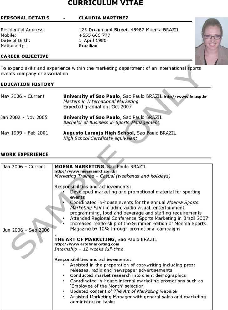 Sample Curriculum Resume Template