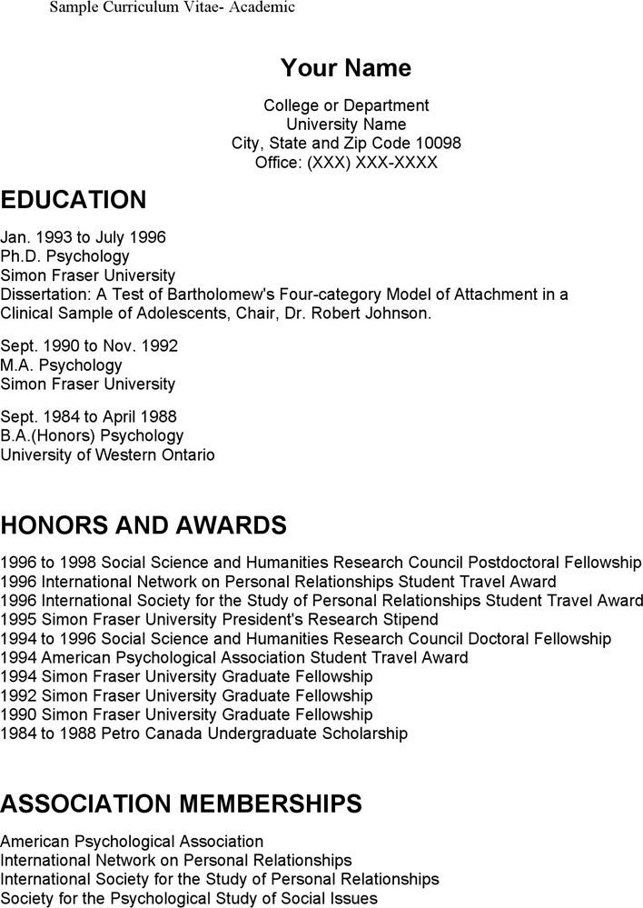 Sample Curriculum Vitae-Academic