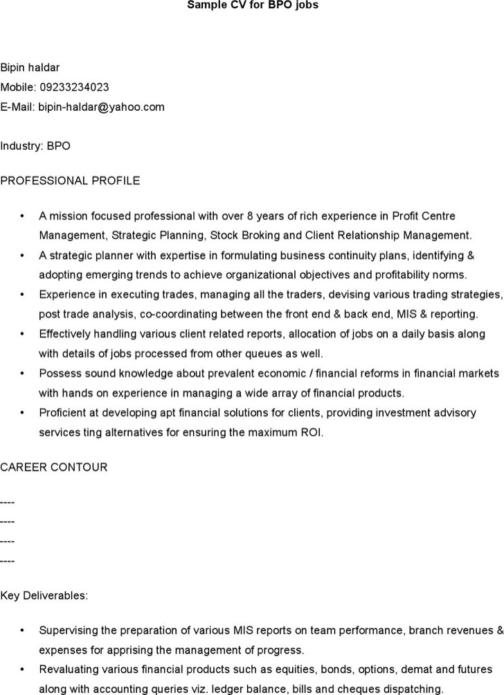 Sample Cv For Bpo Jobs
