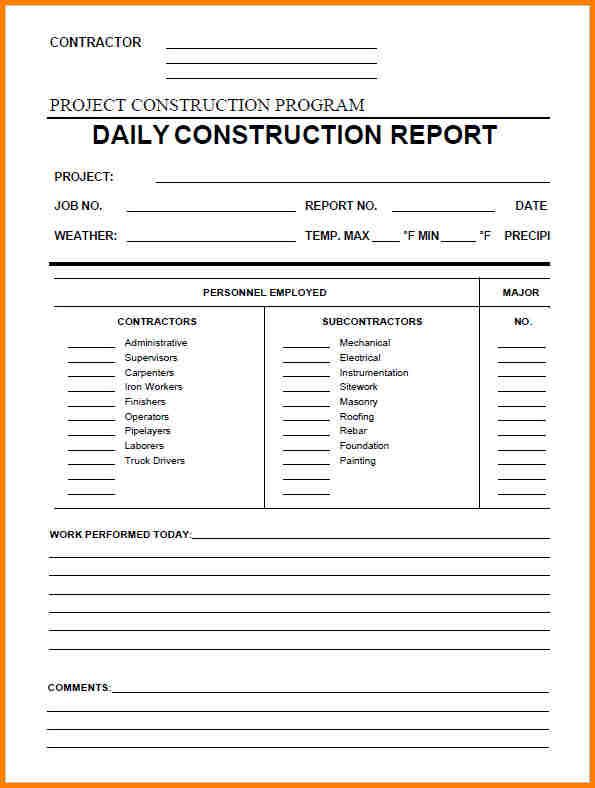Sample Daily Report Daily Construction Report Sample Sample
