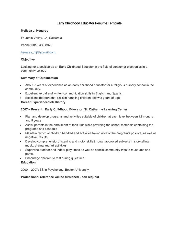 Sample Early Childhood Educator Resume Template