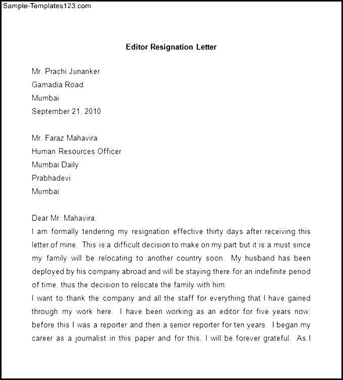 Sample Editor Resignation Letter