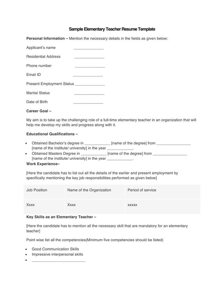 Sample Elementary Teacher Resume Template