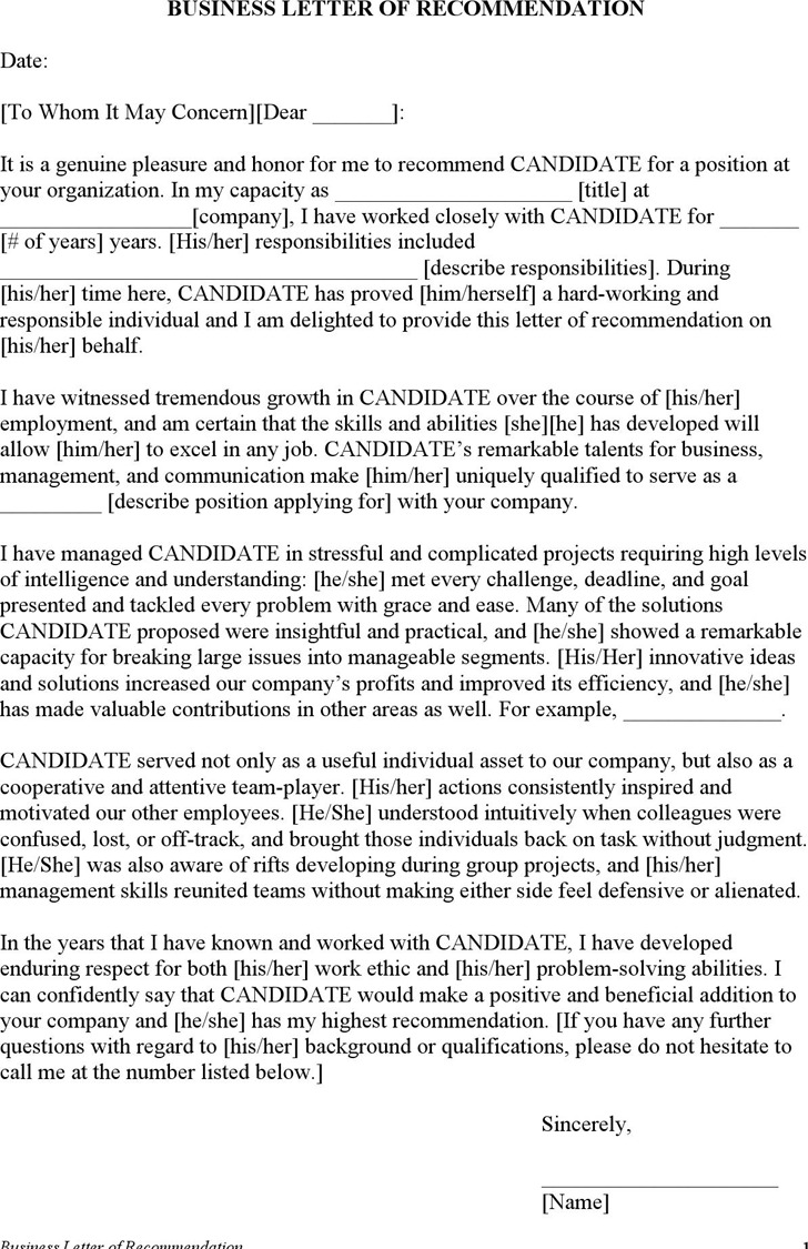 Sample Employment Letter of Recommendation