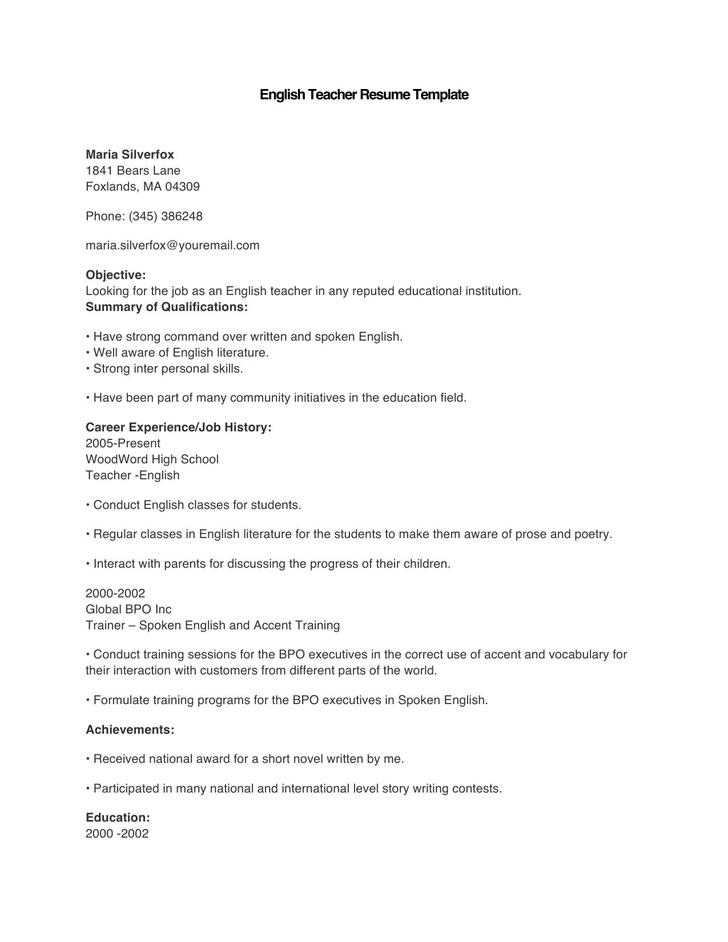 Sample English Teacher Resume Template