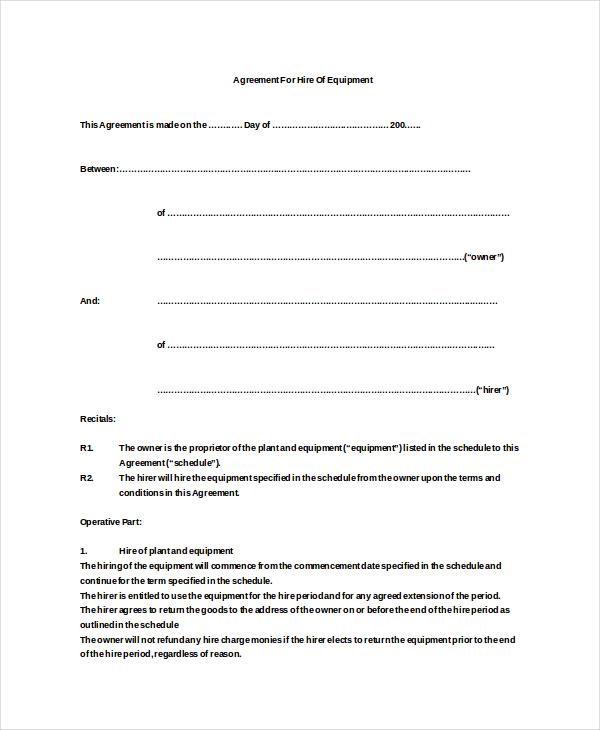 Equipment Rental Agreement Templates – Sample Equipment Lease Agreement