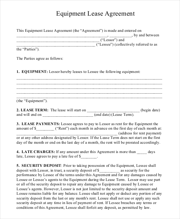 Equipment Rental Agreement Templates Download Free