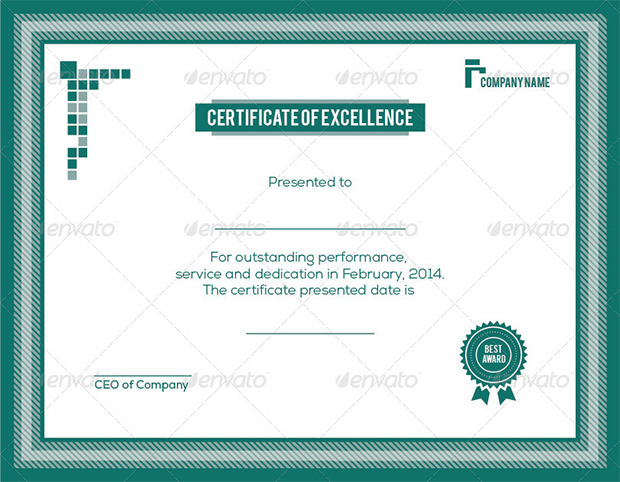 Sample Excellence Award Certificate Template