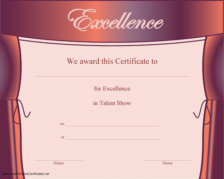 Talent show certificate download free premium for Talent show certificate template