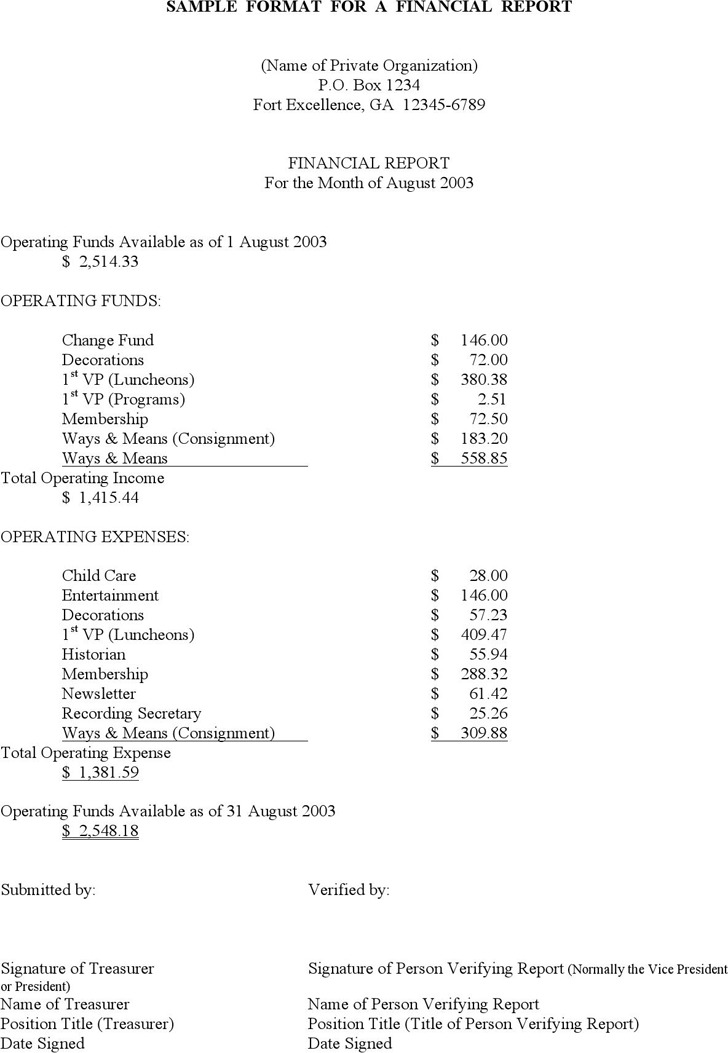 Sample Financial Report Template