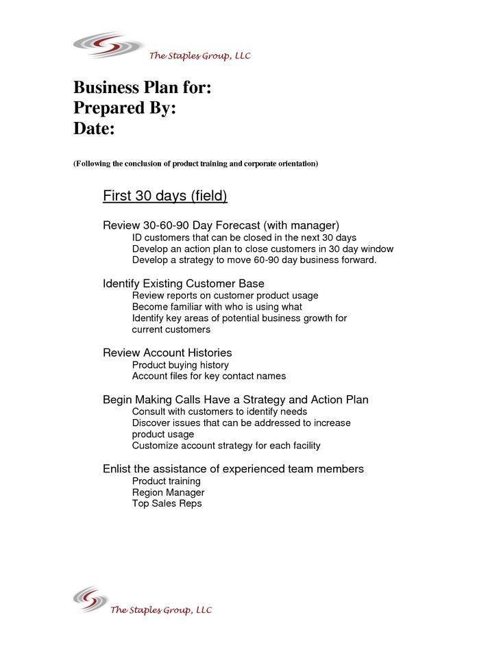 Sample Format 30 60 90 Action Day Plan Template