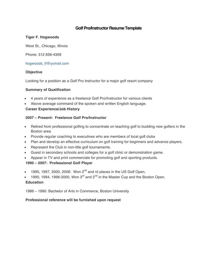 Sample Golf Pro Instructor Resume Template