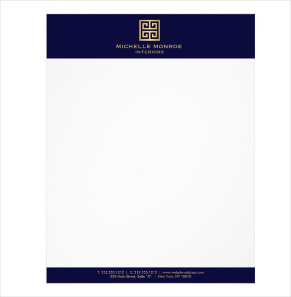 Sample Greek Key Interior Designer Dk Blue Letterhead