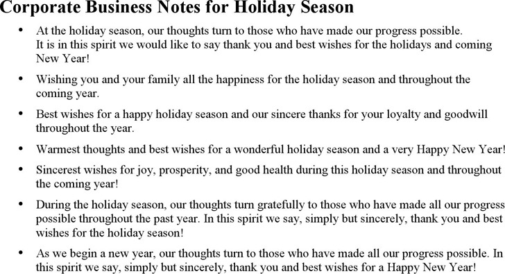 Sample Holiday Greetings Messages
