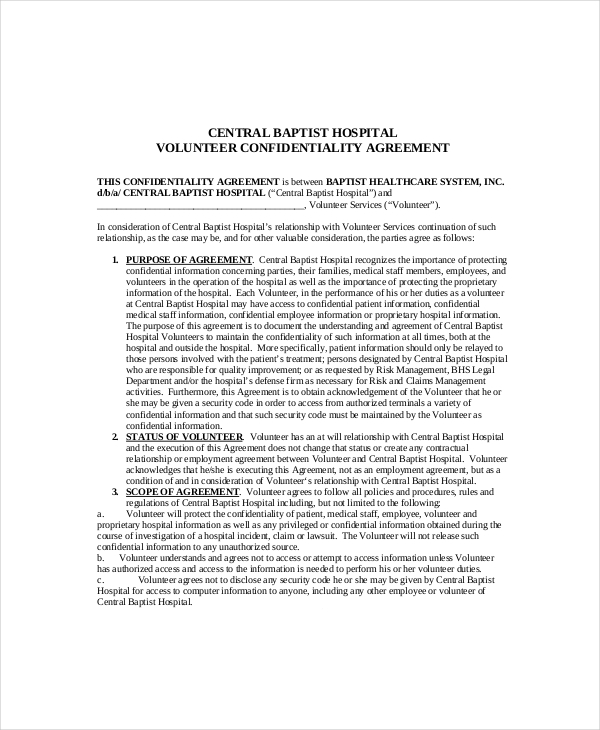 Volunteer Confidentiality Agreement Templates  Download Free