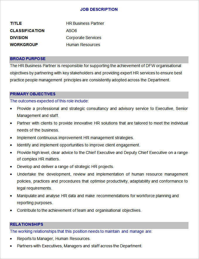 Sample HR Business Partner Job Description Template