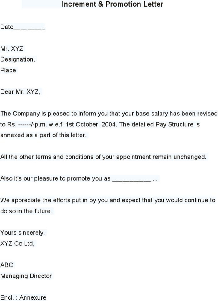 Sample Increment Promotion Letter
