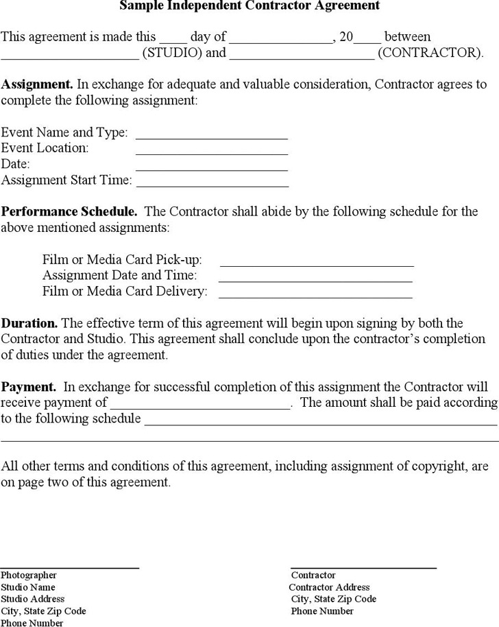 Sample Independent Contractor Agreement  Download Free  Premium