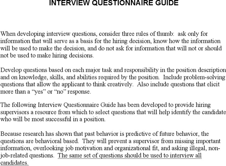Sample Interview Questionnaire Guide
