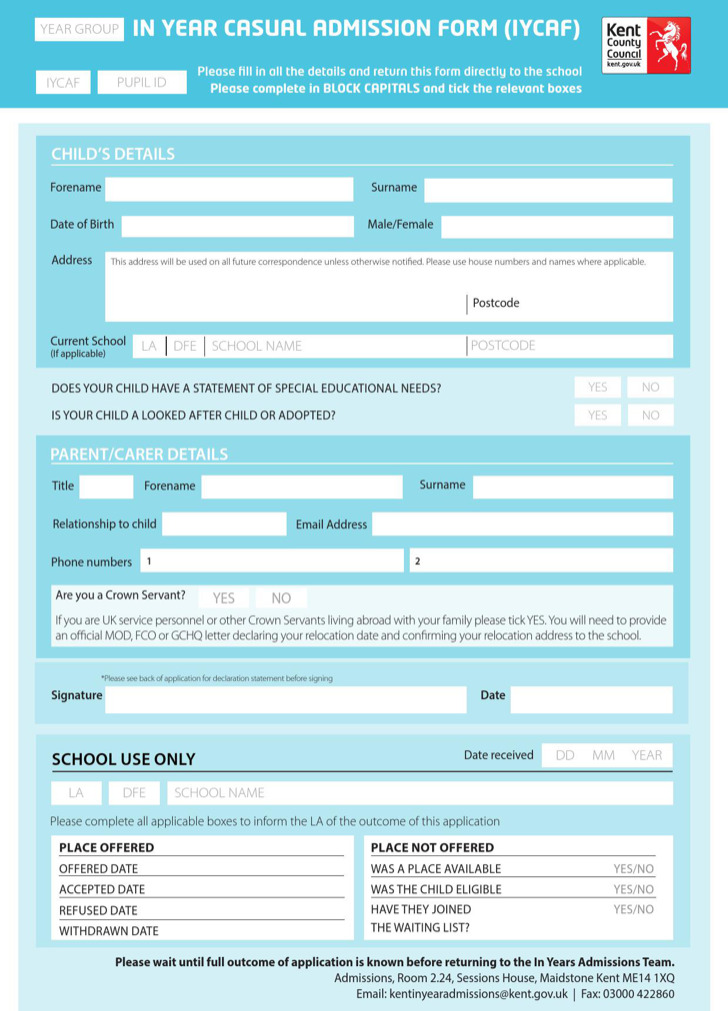 Sample Iycaf School Application Form Template