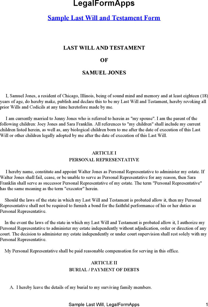 Illinois last will and testament form download free for Sample of a last will and testament template