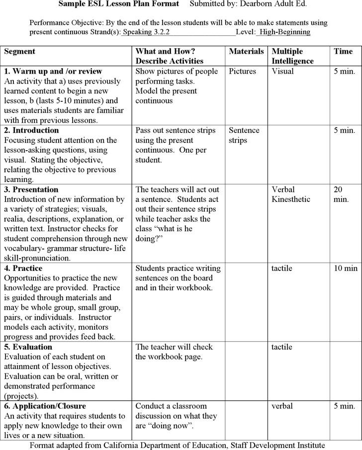 lesson plan template for esl teachers - lesson plan template download free premium templates