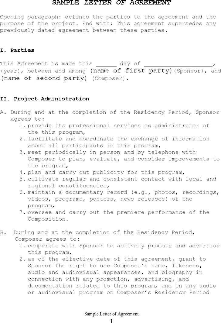 Sample Letter of Agreement 3