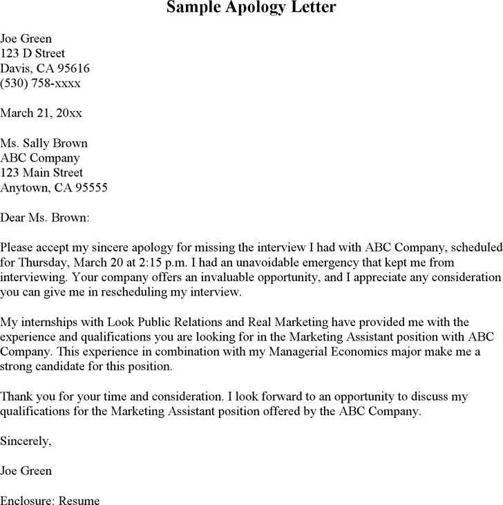 Apology Letter For Missing Interview  Download Free  Premium