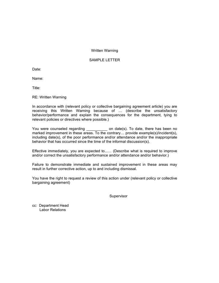 Sample Letter of Warning Template