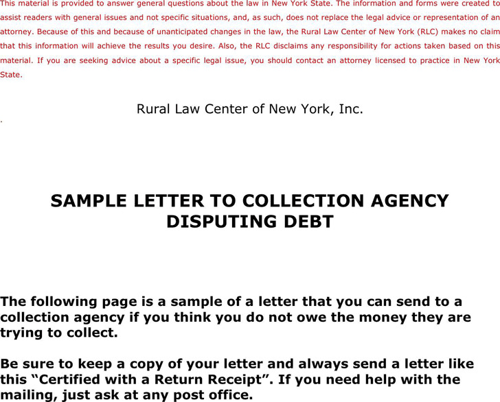 Sample Letter To Collection Agency Disputing Debt