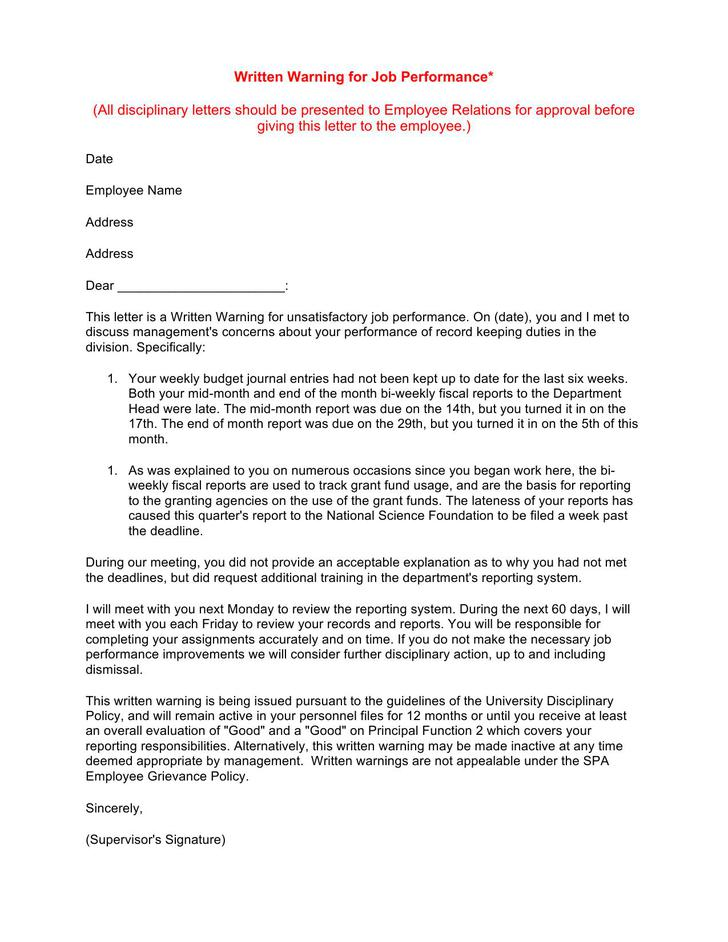 Sample Letter Written Warning Template