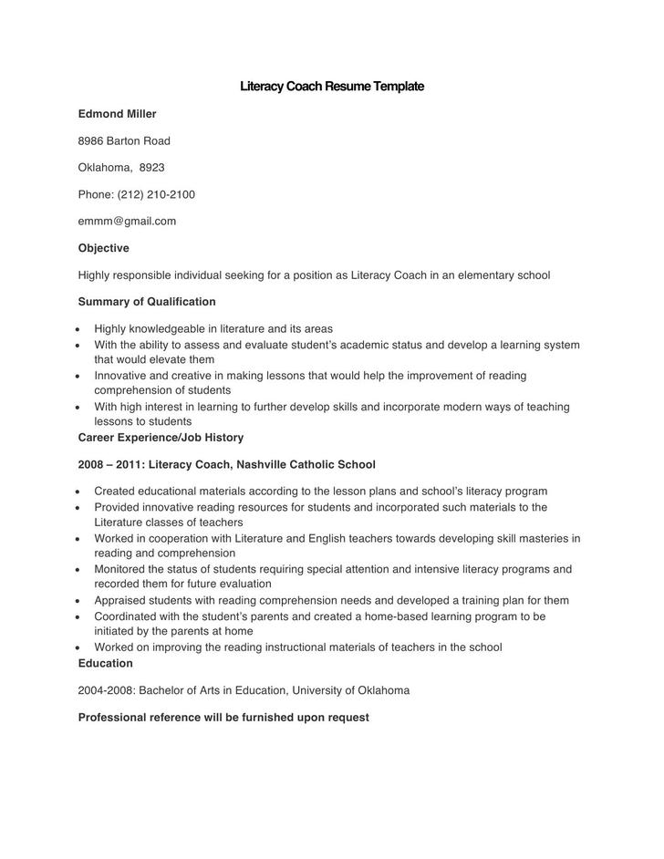 Sample Literacy Coach Resume Template