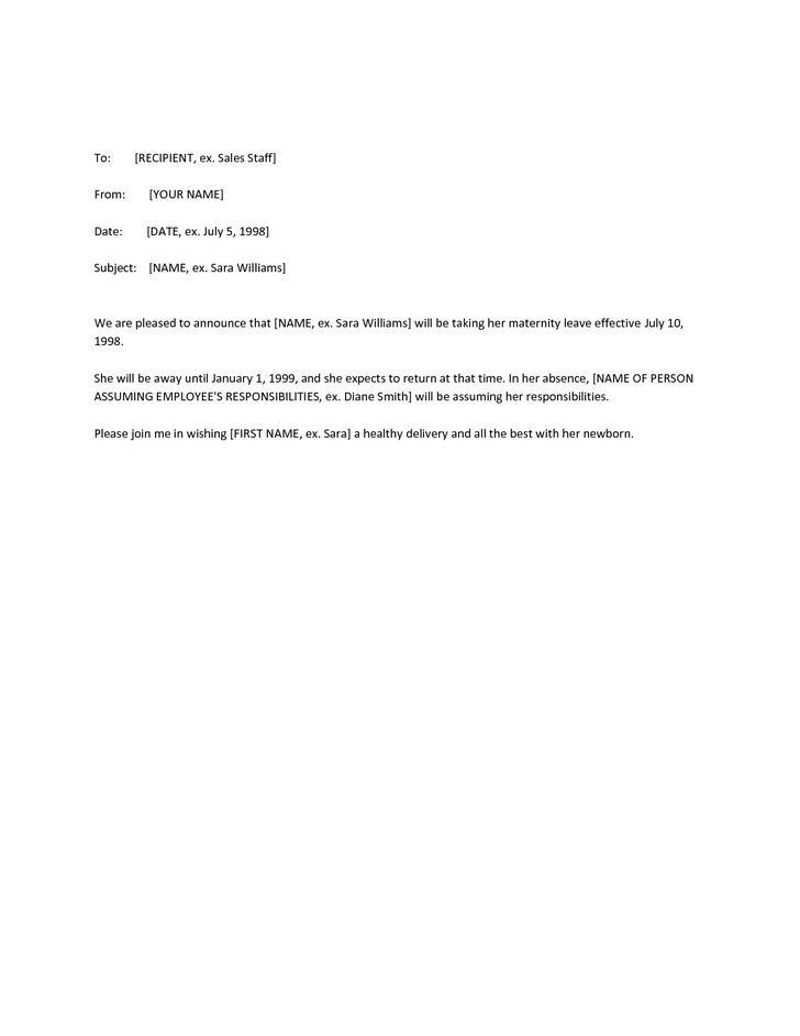 Sample Maternity Leave Resignation Letter