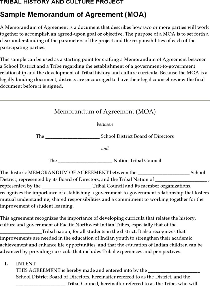 Memorandum Of Agreement Template  Download Free  Premium