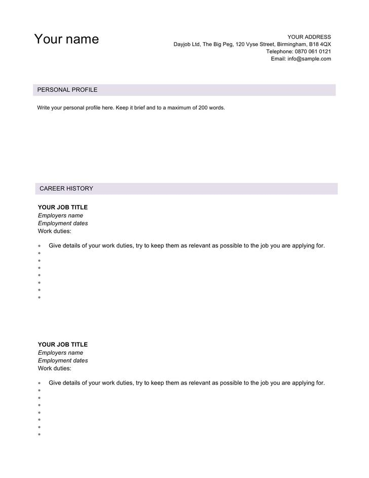 Sample Modern CV Template