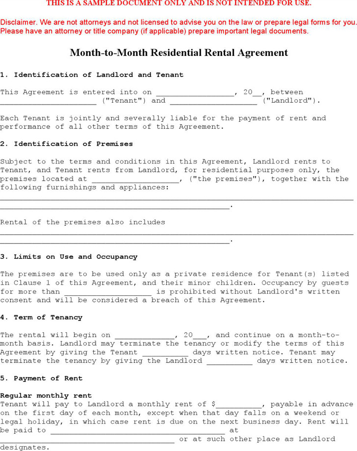 Sample Month To Month Rental Agreement Month To Month Commercial