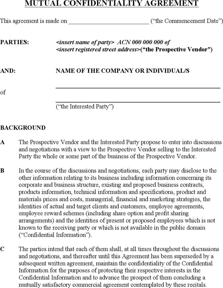 Business Confidentiality Agreement Sample Confidentiality Non