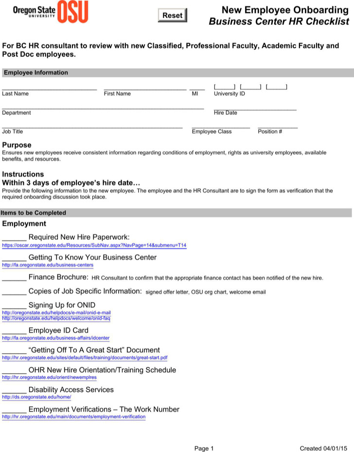 Sample New Employee Onboarding Business Center Hr Checklist 1