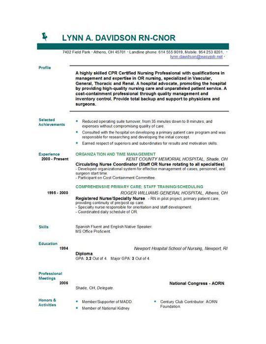Sample Nurse CV Template