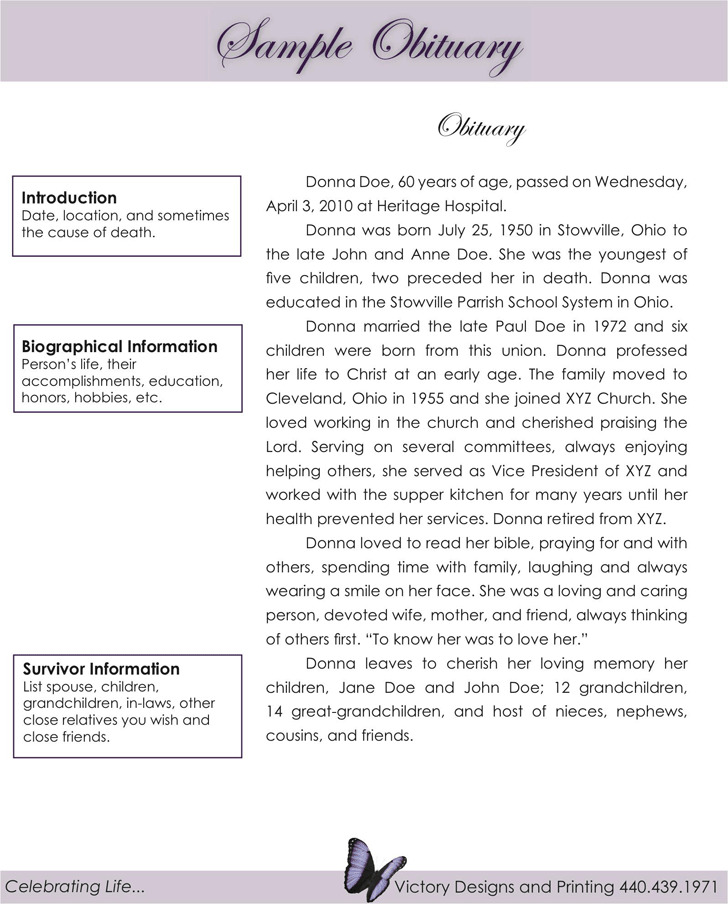 Obituary Examples Download Free Amp Premium Templates