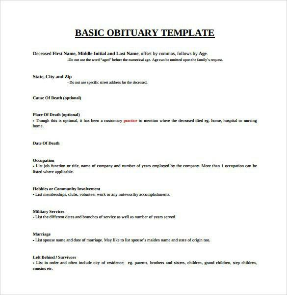 Obituary Template | Download Free & Premium Templates, Forms