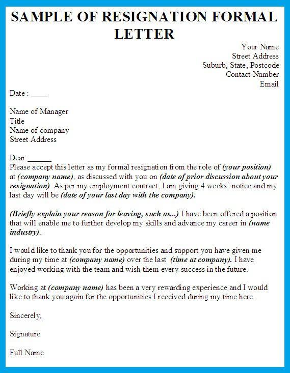 Sample of Formal Resignation Letter