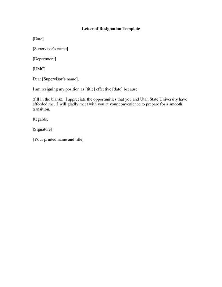 Resignation Letter Templates