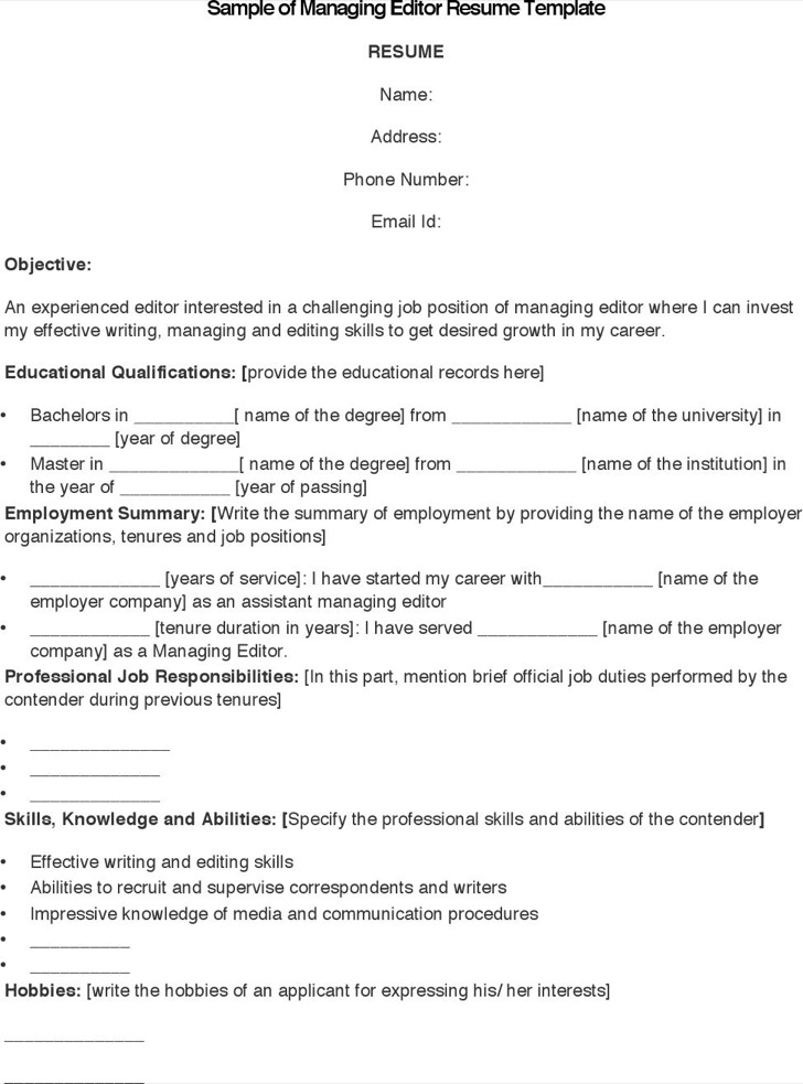 Sample Of Managing Editor Resume Template