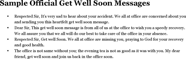 Sample Official Get Well Soon Messages