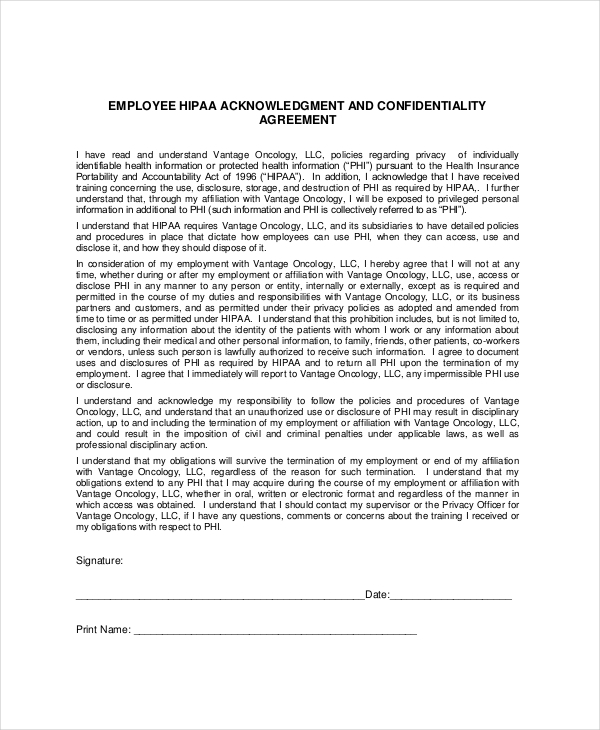 Patient Confidentiality Agreement Templates | Download Free