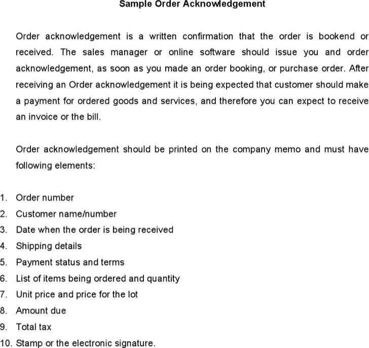 Sample Order Acknowledgement
