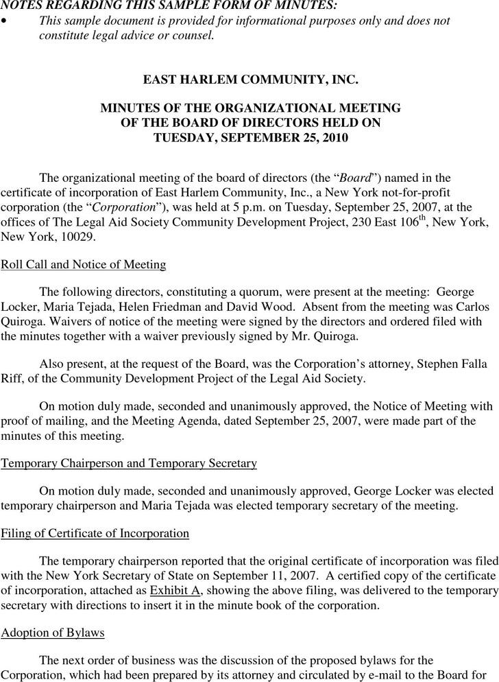 Sample Organizational Meeting Minutes