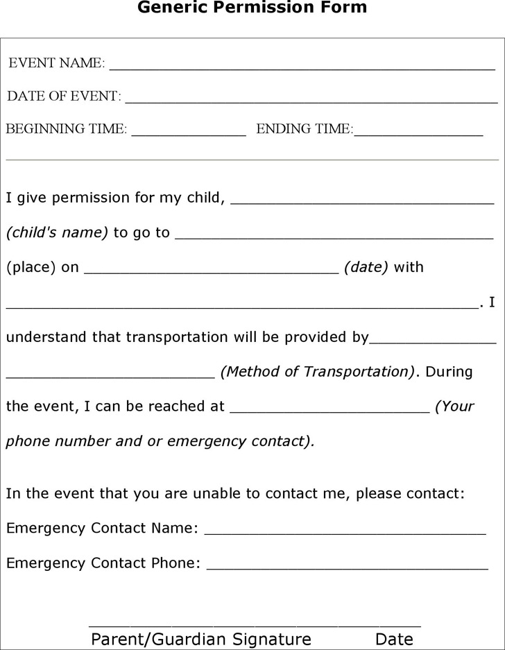 Doc480621 Permission Forms Template Education World Field – Permission Slip Template